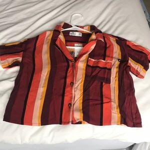 Brand new striped crop button up t-shirt!! 🔥🔥
